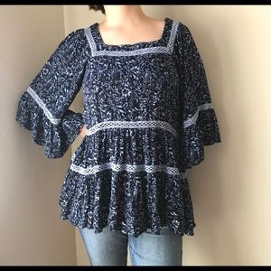 Free People Oversized Bohemian Floral Blouse
